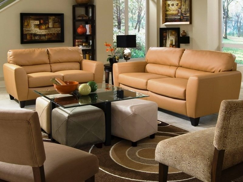 Butterscotch Leather Sofa And Loveseat Package Part 62